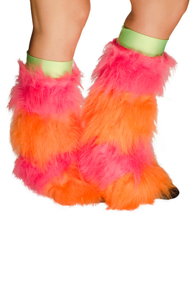 Pink & Orange Striped Fluffy Boot Covers 2