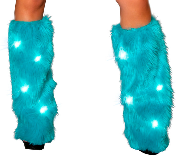 Turquoise fluffy leg warmers