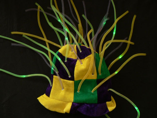 Flashing Mardi Gras LED Tentacle Top Hat