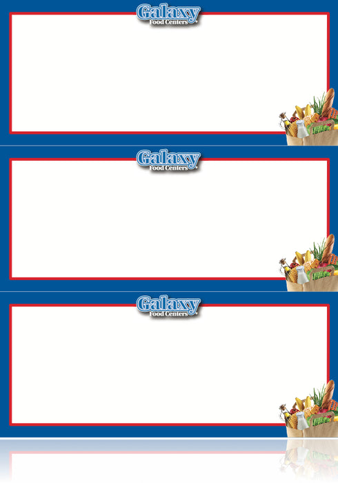 "Galaxy Food Centers Grocery- Shelf Signs-Blue- 8.5""W x 11""H- 3 up per sheet-Laser Compatible-300 signs"