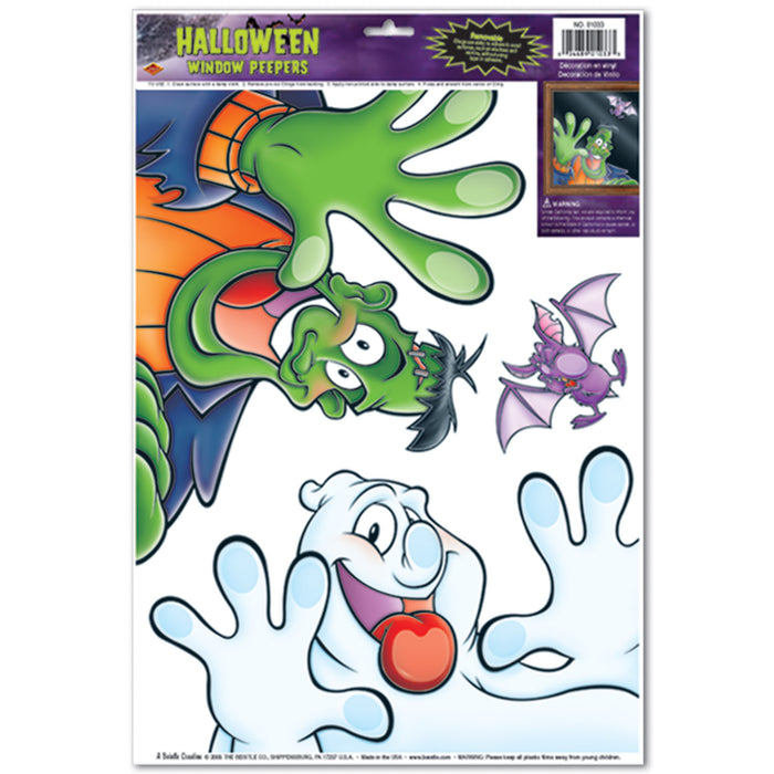Halloween Peeper Static Decal Clings -3 per sheet -12 sheets per pack