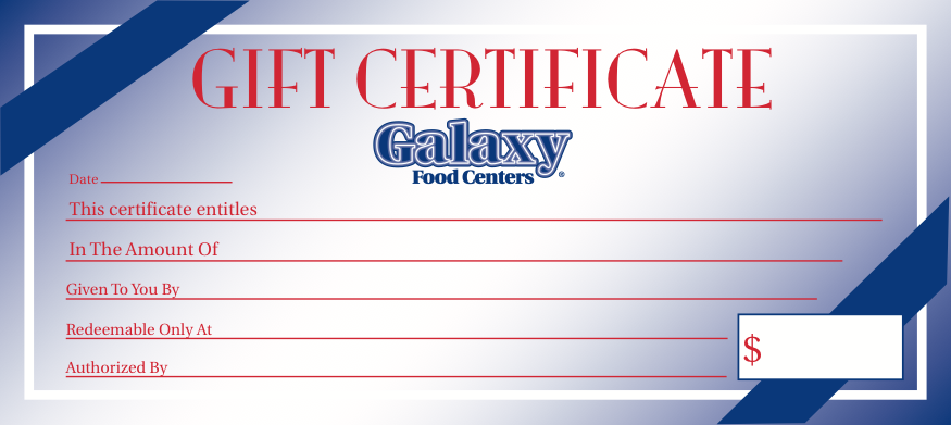 Galaxy Food Centers Gift Certificate 25 pieces per pack