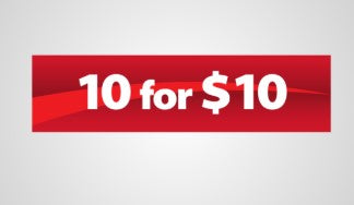 "10 for $10 Hanging Sign Ceiling Dangler-36"" W x 18"" H"