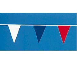Red-White-Blue Indoor -Outdoor Pennants-105' long