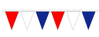 Red, White & Blue Indoor /Outdoor Pennants-105' long - screengemsinc