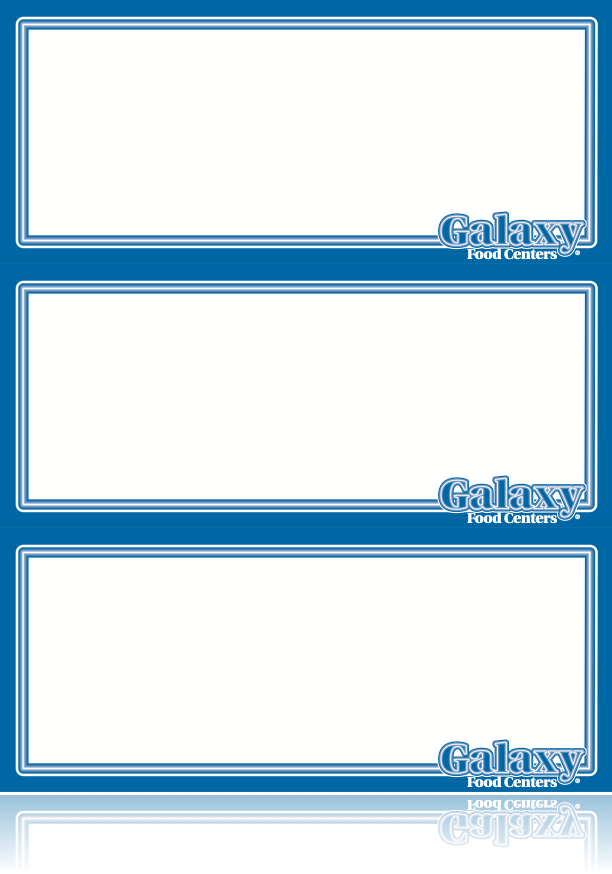 "Galaxy Food Centers Shelf Signs-Grocery- 8.5""W x 11""H- 3 up per sheet-Laser Compatible -300 signs"
