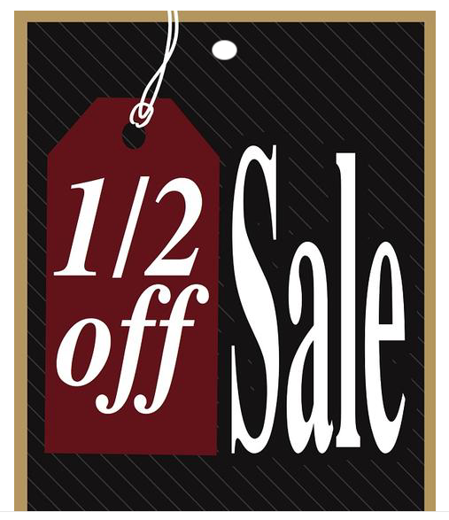 1/2 Off Sale Tags-5 x 7 price tags