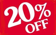 20% Off Shelf Sign-Price Cards- 10 signs