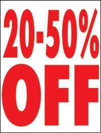 "20%-50 % Off Window Signs Poster-36"" W x 48"" H"