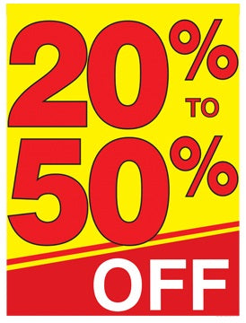 20% to 50% Off Shelf Sign Price Cards-50 signs