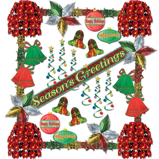 Season's Greetings Metallic Display Decoration Kit
