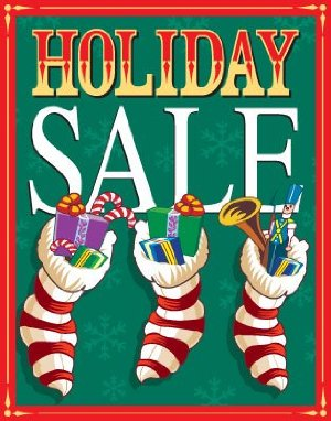 Holiday Sale Retail Store Posters-Floor Stand Stanchion Signs-4 pieces