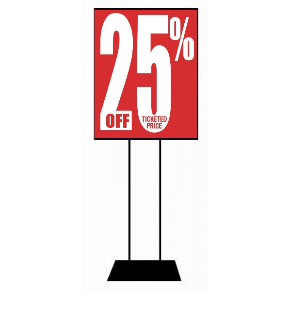 "25% Off Ticketed Price Stanchion Sign-Standard Sale Event Poster-22"" X 28"""