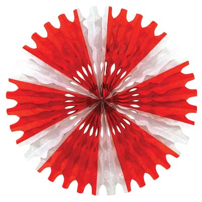 Valentine's Day Red and White Tissue Fans-12pcs