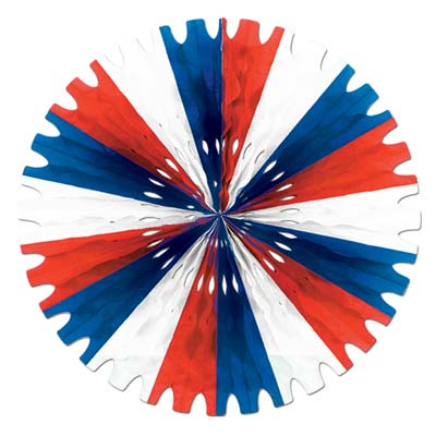 Patriotic-Red, White and Blue Tissue Display Fans