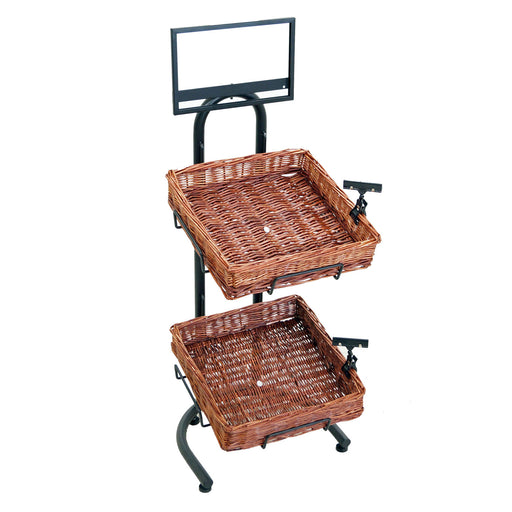 2 Tier with Square Baskets Mobile Merchandiser Fixture