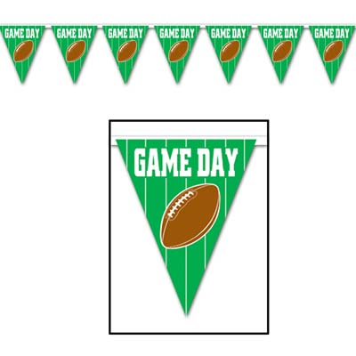 Football Game Day Indoor-Outdoor Pennant Banners- 12 pieces