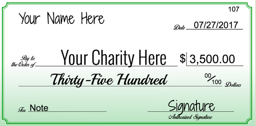 "Big Checks for Charity Donation Presentation or Contest Winners-Custom Printed- 18""H x 36""W"