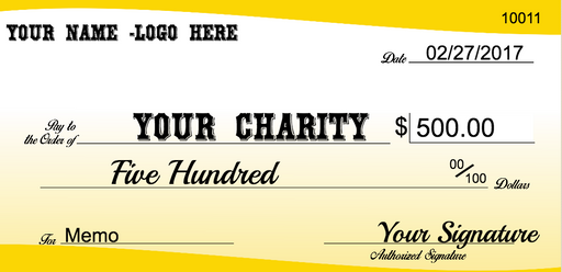 "Extra Large Checks for Charity Donation Presentation or Contest Winners-Custom Printed- 24""H x 48""W"