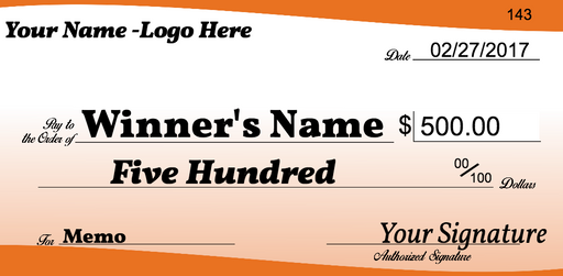 "Giant Check for Blank Charity Donation Presentation or Contest Winners-30"" H x 60"" W"