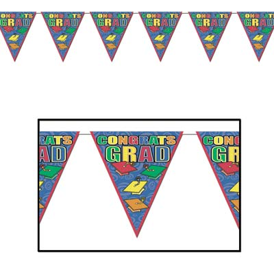 Graduation Indoor-Outdoor Pennant Banners - 12 pieces per pack