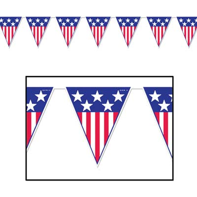 Patriotic Pennant Banners -12 pieces
