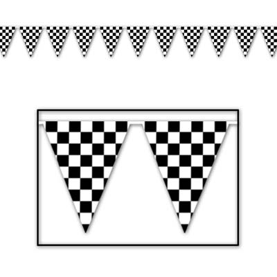 Black & White Checkered Indoor/Outdoor Pennants