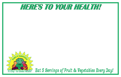 "5-A-Day Produce Shelf Price Signs-White  7"" W x 5.5 ""H -100 signs"