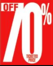 70% Off Ticketed Price Shelf Sign Price Cards-50 signs