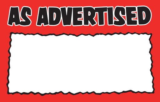 "As Advertised Shelf Signs Price Signs-Red & Black-5.5""W x 3.5""H-200 signs"