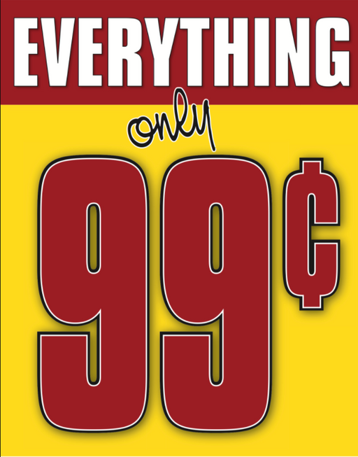 99 Cents Shelf Sign Price Cards-50 pieces