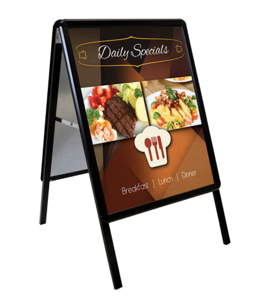 "A-Frame Black Metal Indoor-Outdoor Sign Holder-Snap Frame 22"" W x 28"" H"