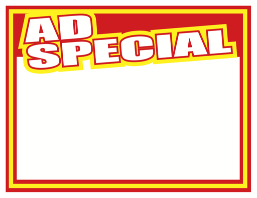"Ad Special Shelf Signs Price Cards-Laser Compatible-11""W x 8.5""H -100 signs"