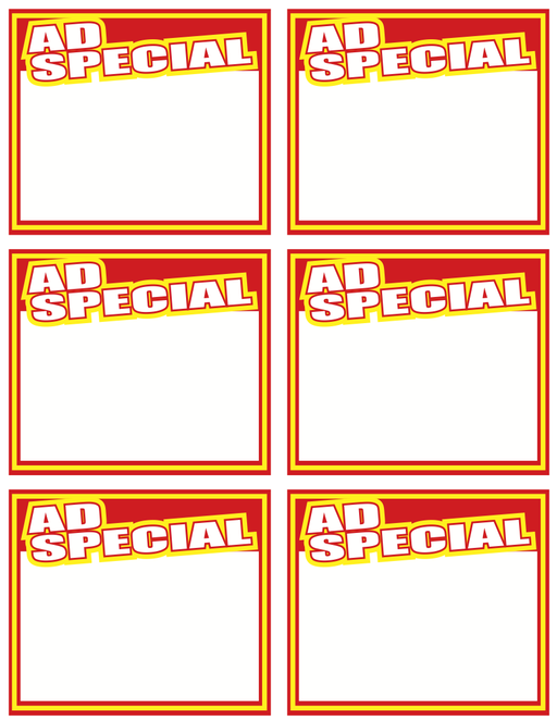 Ad Special Shelf Signs Price Cards-Laser Printer Compatible-6 signs per sheet-600 signs