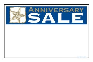 "Anniversary Sale Shelf Signs Price Cards-11"" W x 7"" H -50 signs"