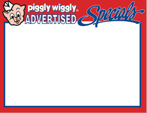Piggly Wiggly Supermarket Advertised Special Shelf Signs-8.5 x 11 -100 signs