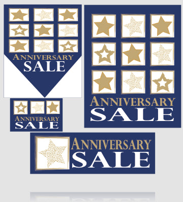Anniversary Sale Event Retail Point of Purchase Sign Kit- 32 pieces