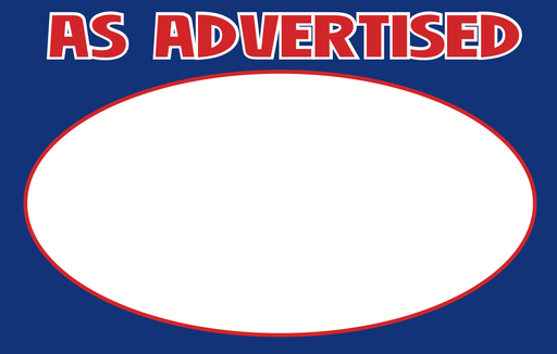 "As Advertised Shelf Signs Price Cards -Blue-11"" W x 7"" H-100 signs"