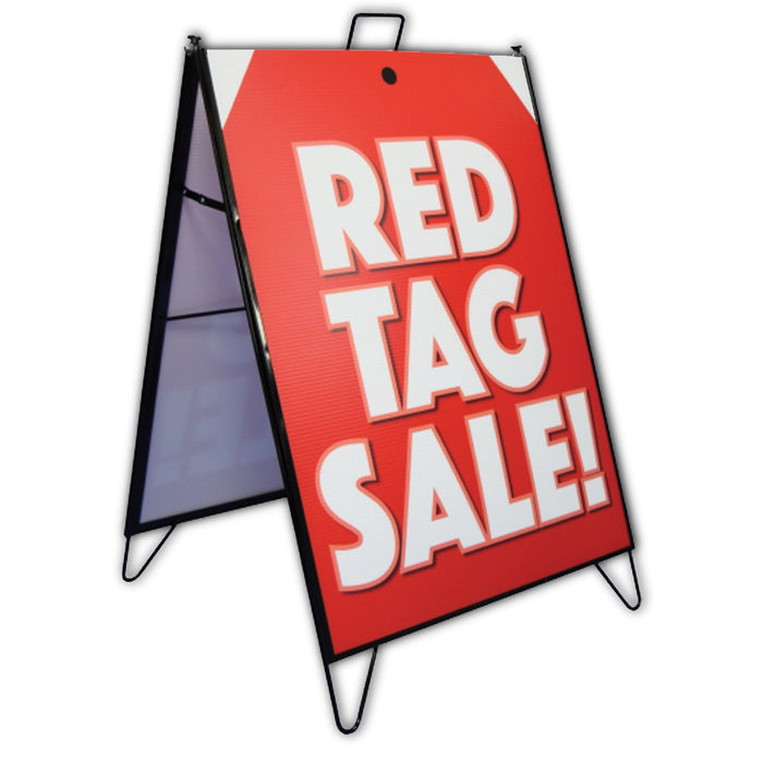 "A Frame Sign Inserts & Sign Holder Frame Set-Black Metal Sidewalk Frame-24"" x 32"""