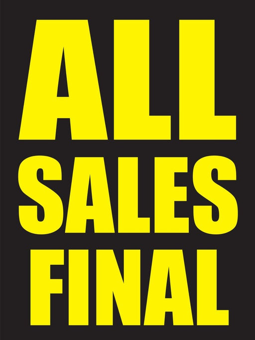 All Sales Final Window Signs Poster