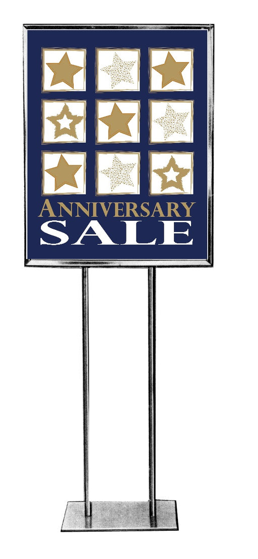 "Anniversary Sale -Standard Posters-Floor Stand Stanchion Signs- 22"" W x 28"" H"