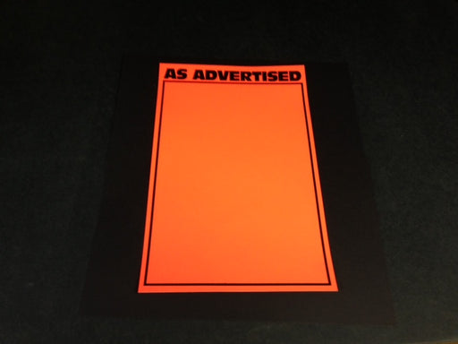 "As Advertised Shelf Signs Price Cards-Orange Day Glo -7""W x 11""H-100 signs"