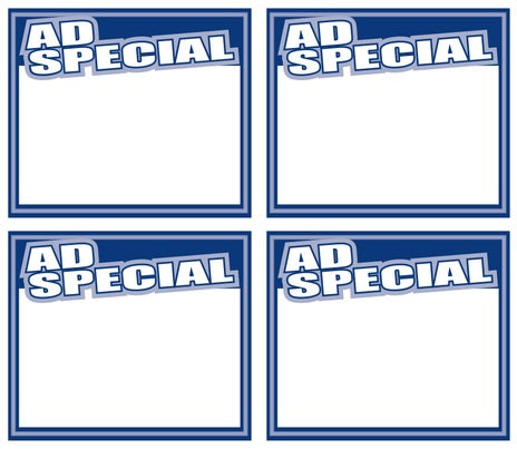 Ad Special Shelf Signs Price Cards-Laser Compatible