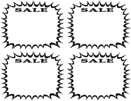 Black & White Sale Starburst Shelf Signs Price Cards-4 signs per sheet- 400 signs