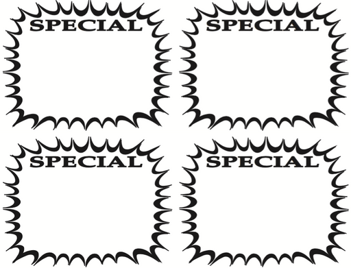 Black & White Special Starburst Shelf Signs Price Cards-4 signs per sheet-400 signs