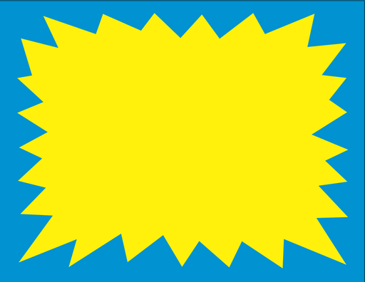 "Blue & Yellow Starburst Shelf Sign Price Cards 11""W x 8.5""H Laser Compatible-100 signs"