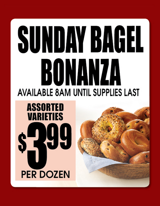 "Bagel Bonanza Window Sign Poster-36""W x 48""H"