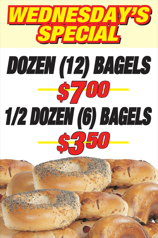 "Bagels Window Sign Poster-36""W x 48""H"