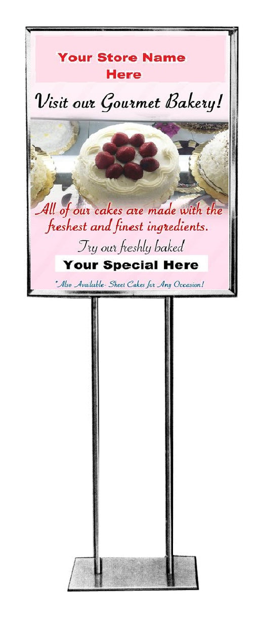 "Bakery Floor Stand Stanchion Signs-22"" W x 28"" H"