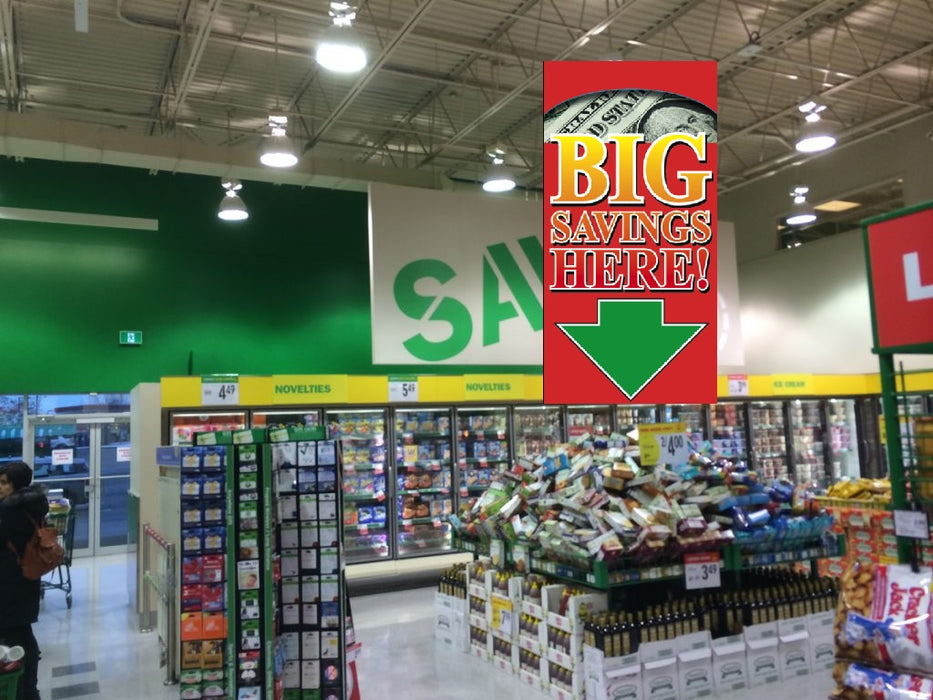 Big Savings Ceiling Danglers Hanging Sign for retail stores and supermarkets